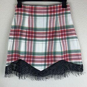 NWT LF Red Leather ette Plaid Skirt Eyelash Trim